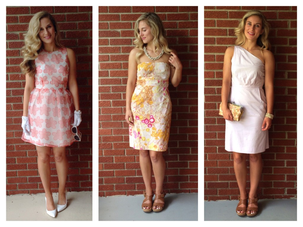 a mod floral print, watercolor floral print, and a lilac one-shoulder dress