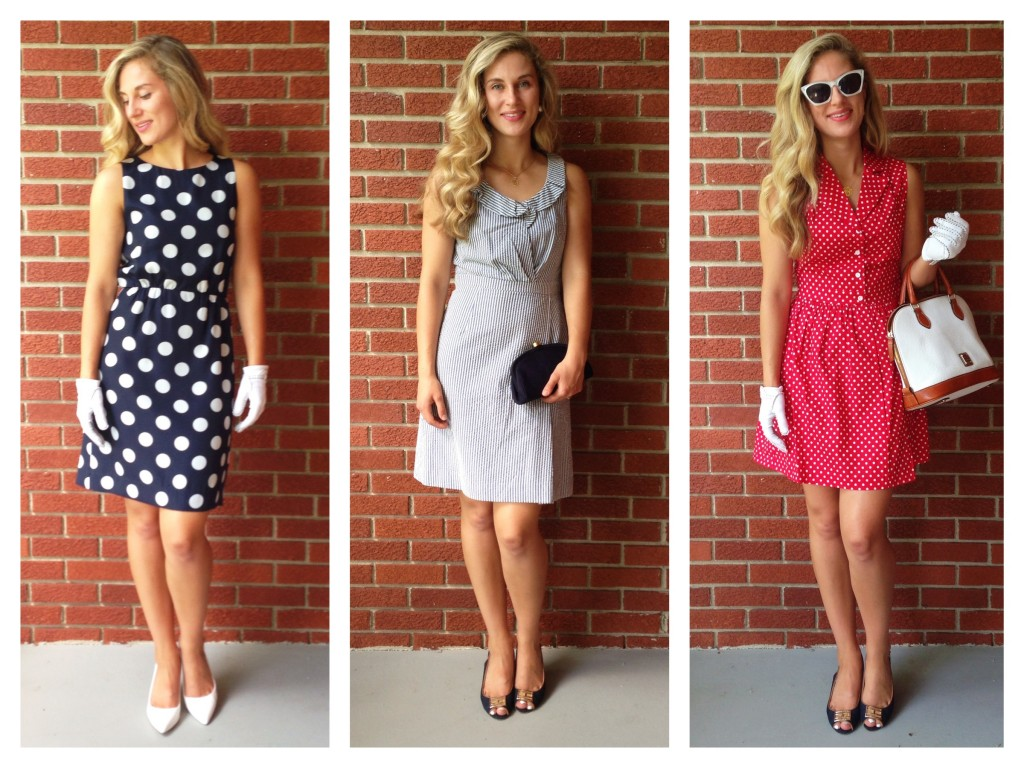 silk polka dot dress, seersucker, and cotton polka dots