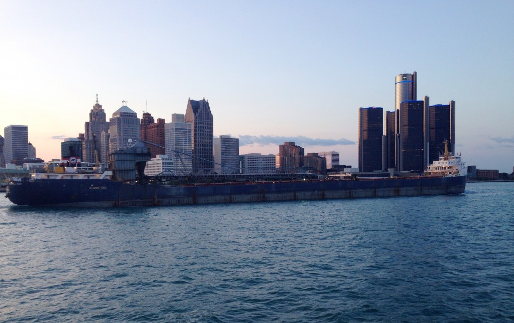 freighter and the Detroit skyline
