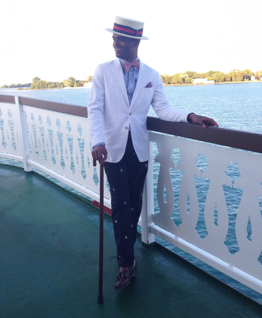 Michael's outfit - boater hat, gingham bowtie, white cotton blazer, sailboat chinos, and tassel loafers