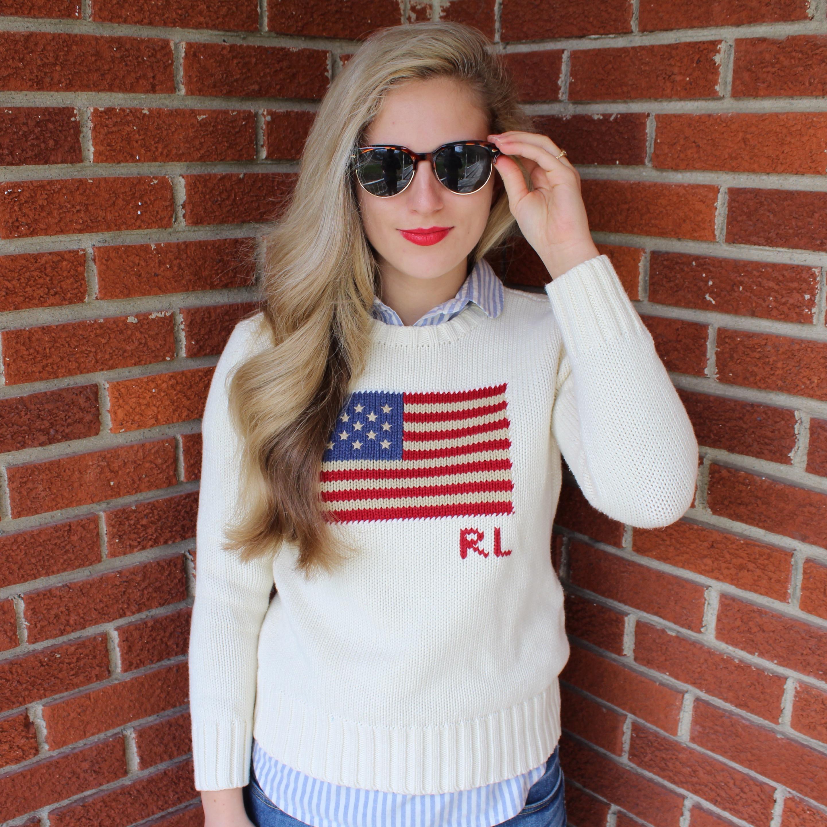 My cream crew neck flag sweater ...
