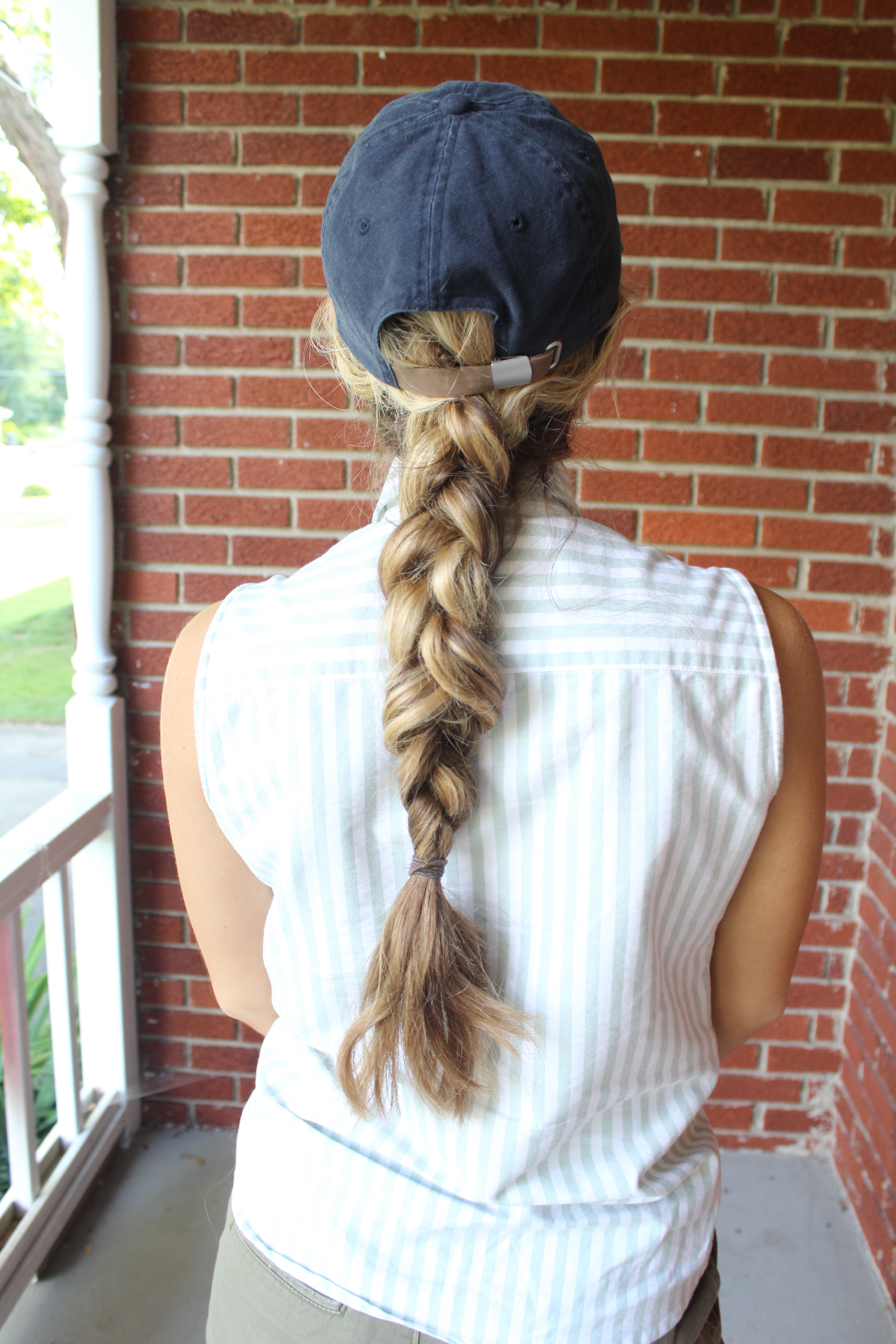 This Braid Is Really A Dutch (french Braided) As Opposed To Starting The  Braid At The Nape Of My Neck A Messy Braid Goes Well With A Baseball Hat